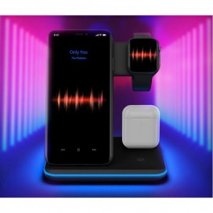 3-in-1 Wireless Charger Stand Qi 15W Fast Charging Station, Apple iWatch + AirPods + Phone Station Dock - Black