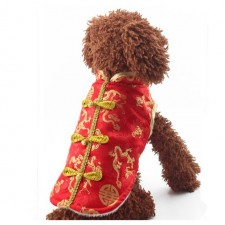 Chinese New Year Dog Vest Cat Neteye Cotton Clothes Pet Wear Appliances Shirt Small Puppy Coat Slim