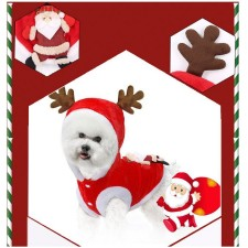 Merry Christmas XMAS Dog Vest Cat Neteye Cotton Clothes Pet Wear Appliances Shirt Small Puppy Coat 3D with Ears