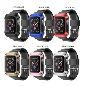 IWatch Apple Watch Series 4 5 Band + Case Strap 40mm 44mm Shock Proof Good Protection WatchBand with Case All In 1