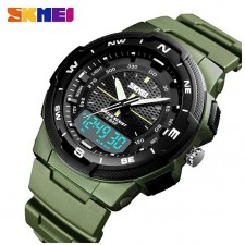 1454 Top luxury Men's Dual Display LED Digital PU Luxury Strap Date Clock Watch