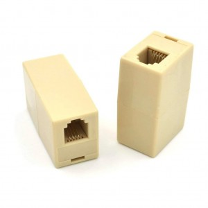In-Line Coupler 4 Conductor Ivory RJ11 Phone Female to Female Cord Extension Plug Connection Line Connector