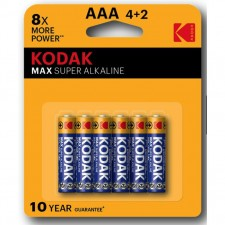 KODAK MAX Super Alkaline AAA Size Blister Battery (4pcs +2pcs Pack)
