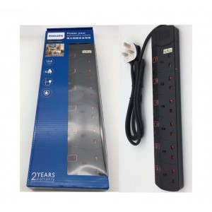 Philips SIRIM Approved 3/4/5/6 Gang Extension Socket Power Strips 2M Heavy Duty - BLACK