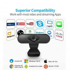 Smart HD 1080P USB Webcam Video Cam PC Desktop Laptop Camera for Windows 10/VISTA/XP/7/MacOS