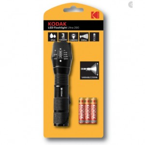 LED Flashlight Ultra 290 Variable Zoom 300m Camping Hiking Fishing Emergencies Workshop