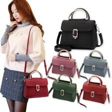 Korean Buckle Design PU Leather Crossbody Bag