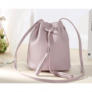 Simple And Easy Match Tassel Design PU Leather Small Bucket Bag