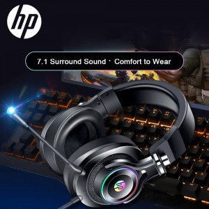 HP H500GS (GOLD) 7.1 USB GAMING HEADSET WITH MIC STEREO GAMER HEADPHONE RGB LIGHT VOLUME CONTROL FOR PC