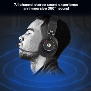 HP H500GS (BLACK) 7.1 USB GAMING HEADSET WITH MIC STEREO GAMER HEADPHONE RGB LIGHT VOLUME CONTROL FOR PC