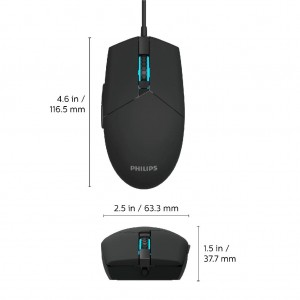 Philips SPK9304(G304) 6400DPI Wired Gaming Mouse with 7 Colors Ambiglow Breathing RGB