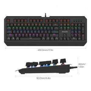 Philips SPK8413 Gaming Mechanical Keyboard RGB Super Resistant Anti Ghosting Alloy surface