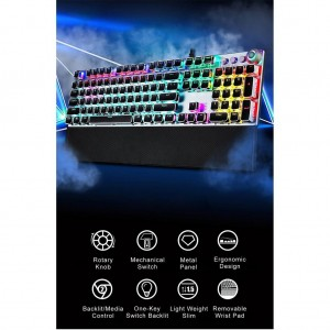 Philips SPK8614 USB Wired Mechanical Gaming Keyboard with Rainbow Backlit Wrist Rest Pad for PC Laptop Desktop