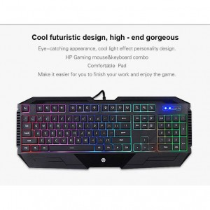 HP GK1100 WIRED USB GAMING KEYBOARD MOUSE COMBO DESKTOP SET COLORFUL BACKLIT KEYBOARD & SEVEN COLORS