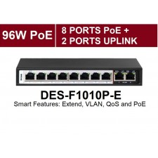D-Link Dlink DES-F1010P-E 250M 10-Port Fast Ethernet Switch with 8 PoE Ports and 2 Uplink Ports