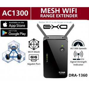 D-Link Dlink AC1300 Gigabit Mesh Enabled Exo Wireless WiFi Range Extender DRA-1360 Wi-Fi DLink Repeater / Booster