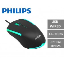 PHILIPS SPK9314 3-Button 1200 DPI Ergonomic with RGB Ambiglow FX Ambidextrous USB Wired Optical Mouse