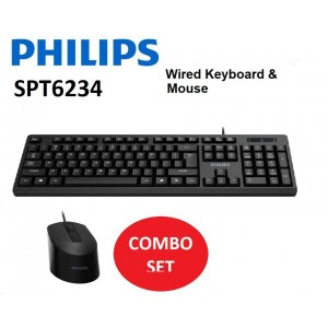 Philips 200 Series Wired keyboard-mouse combo SPT6234 3 buttons USB 2.0 Wired Optical Sensor