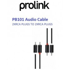 PROLINK PB101 BLACK AUDIO 1.5M / 3M / 5M CABLE 2XRCA PLUGS TO 2XRCA PLUGS