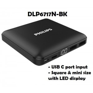 Philips DLP6717N-BK 10000 mAh Li-Polymer Powerbank with USB-C input - Square & MINI SIZE with LED Display