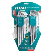 TOTAL HEAVY DUTY HEX KEY AND TORX KEY SET - 18PCS