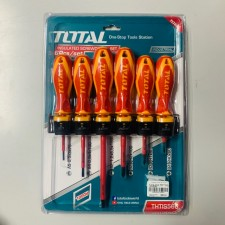 TOTAL HEAVY DUTY INSULATED SCREWDRIVER SET - 6PCS STANLEY / KING TOYO / E-MARK GRADE